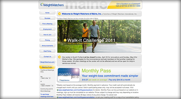 Weight Watchers of Maine website